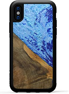 product image for Carved - Wood+Resin Case for iPhone Xs/iPhone X - One-of-A-Kind, Protective Traveler Bumper Cover (ID: 316660, Blue)