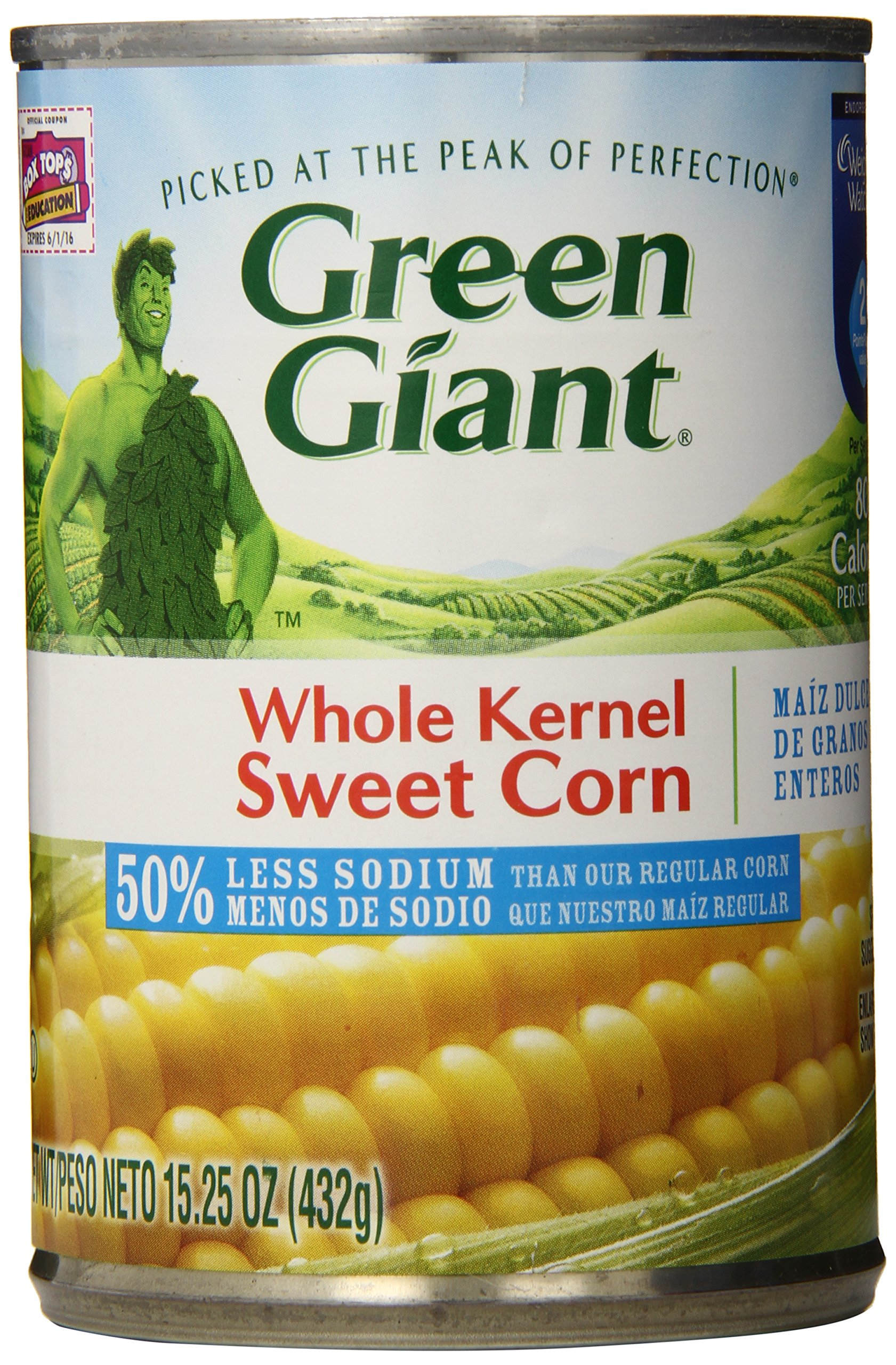 Green Giant Whole Kernel Sweet Corn, Low Sodium, 15.25 Ounce (Pack of 12)