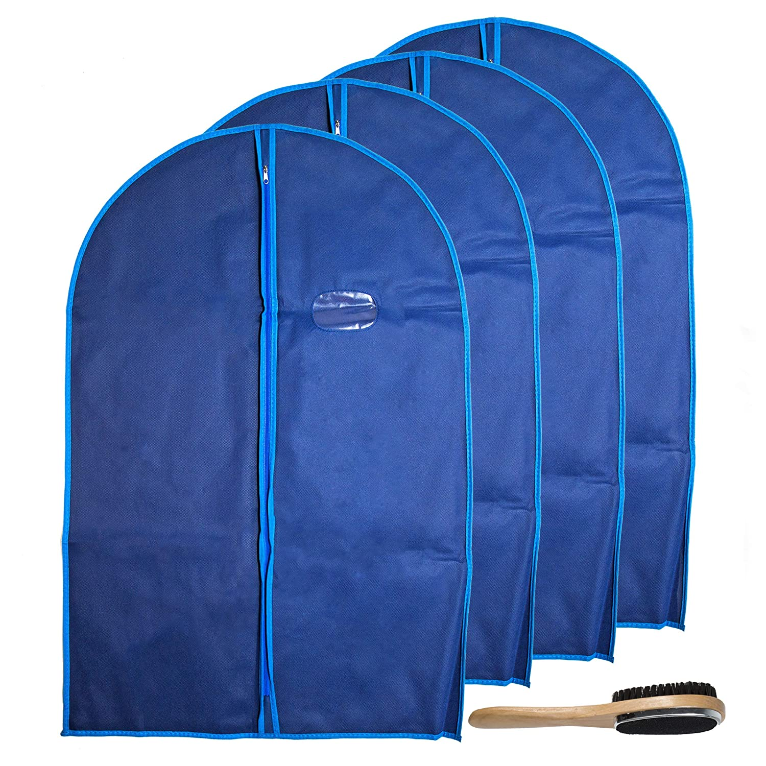 Garment Bags by Home Zone - 4 Pack of Breathable Garment Suit Bag Clothes Covers - Protect Garments, Suits and Costumes - Ideal for Mens Travel & Clothing Protection - Navy & Blue Finish - Medium Size (90cms*60cm) ZH-BGC-BLU-K4