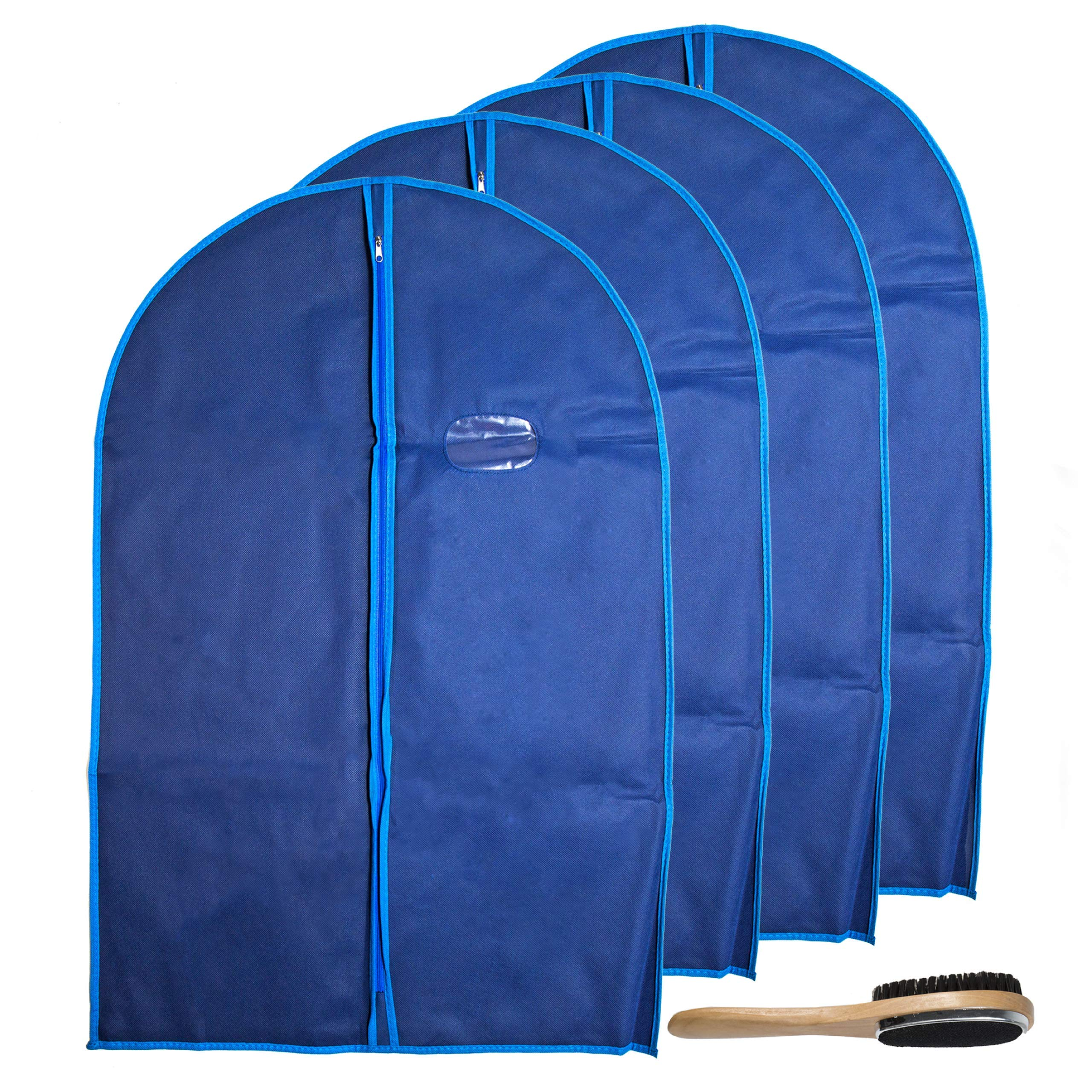 Garment Bags by Home Zone - 4 Pack of Breathable Garment Suit Bag Clothes Covers - Protect Garments & Suits - Ideal for Mens Travel & Clothing Protection - Navy & Blue Finish - Medium Size