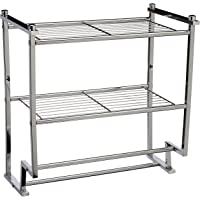 Organize It All Metro estante de 2 niveles para montaje en pared con toallero (16988)