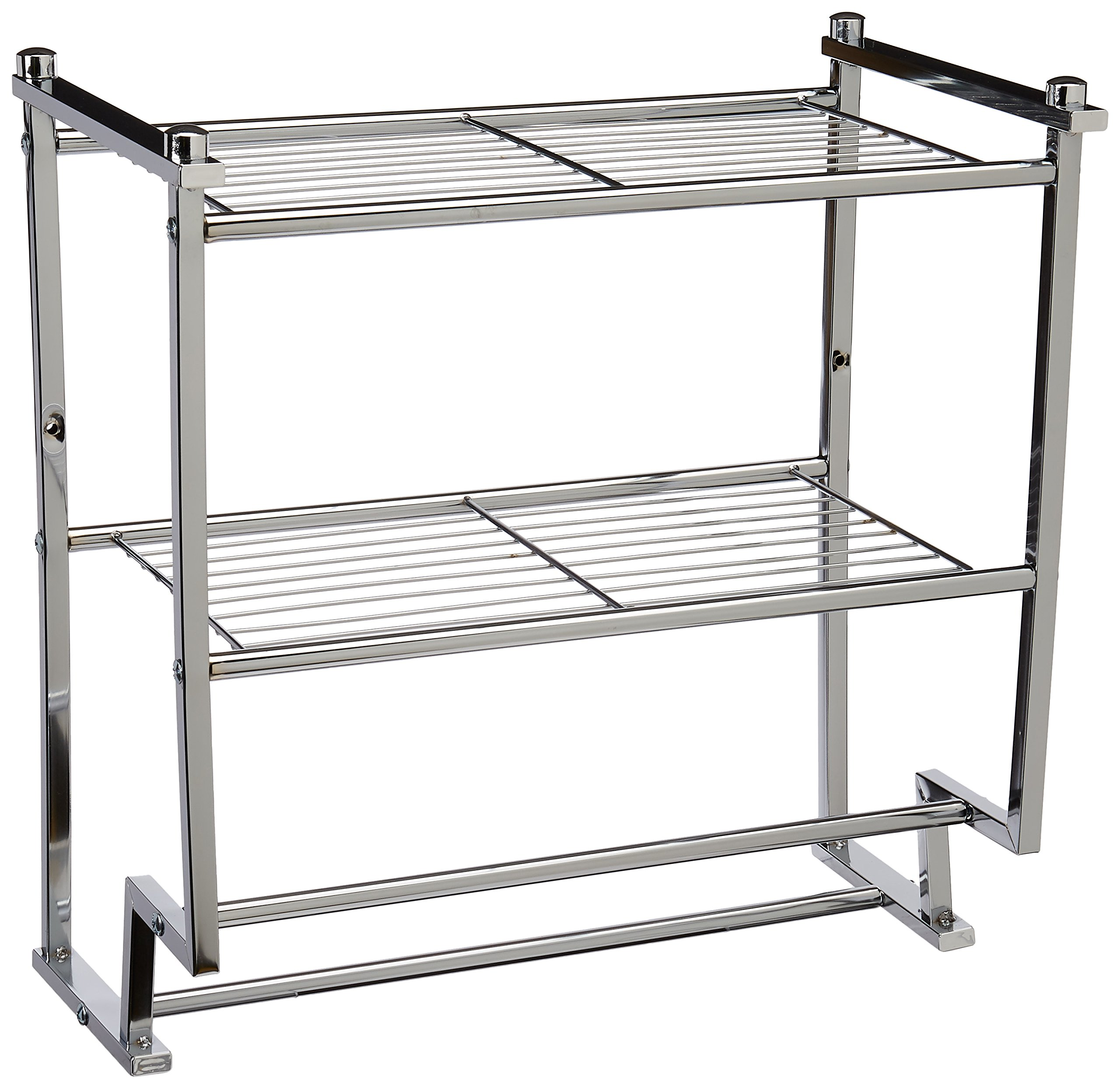 Organize It All Chrome 2 Tier Wall Mounting Bathroom Rack with Towel Bars by Organize It All