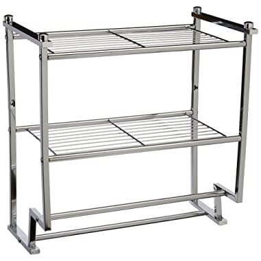 Organize It All Chrome 2 Tier Wall Mounting Bathroom Rack with Towel Bars
