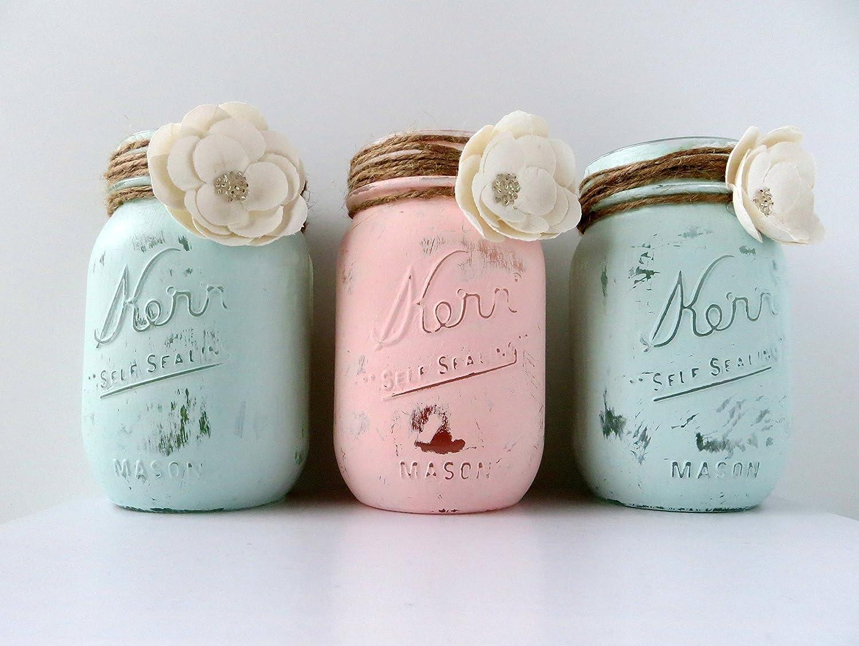Amazon.com: Rustic Mint Green & Blush Trio Centerpiece Jar, Shabby ...