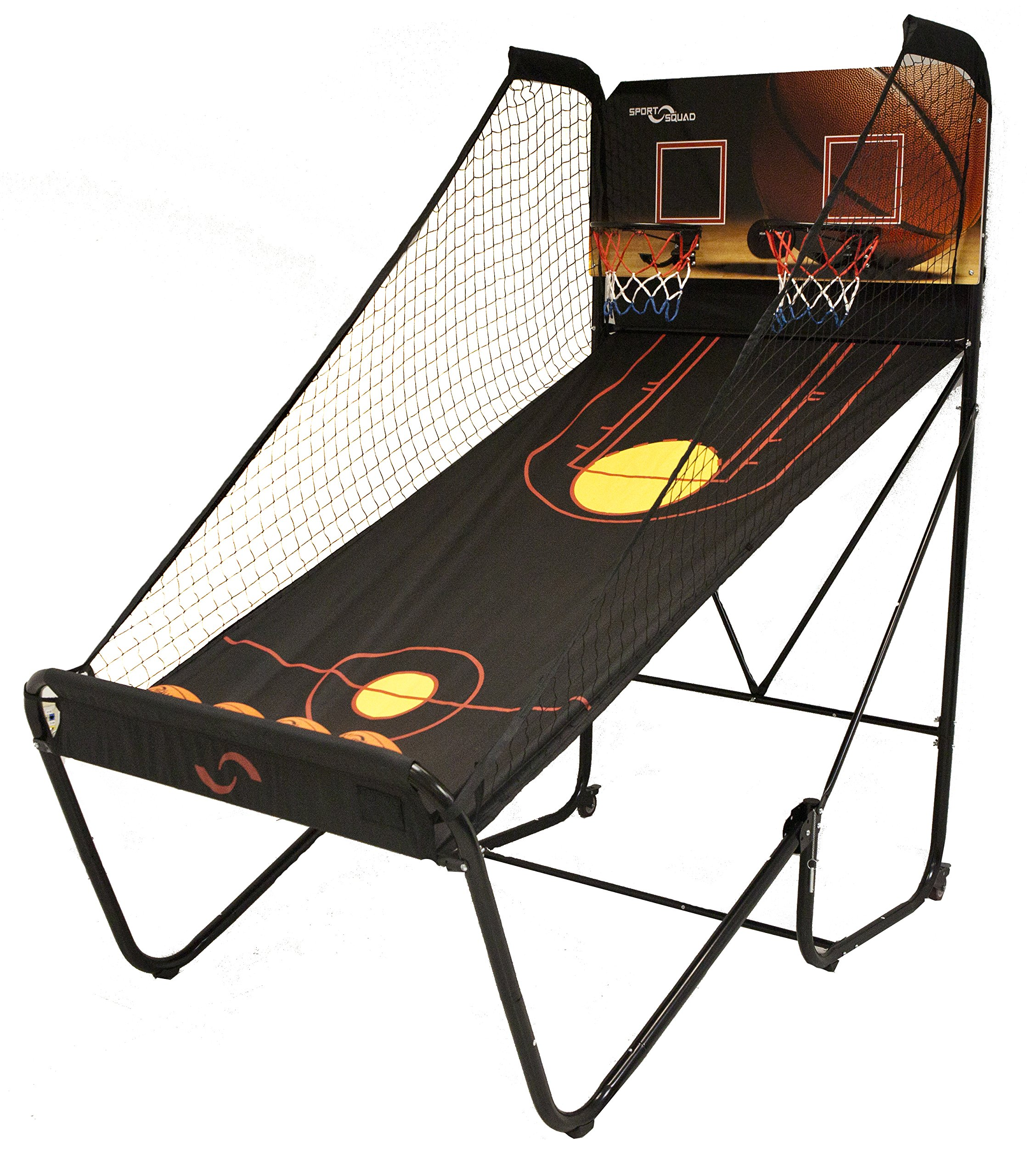 Sport Squad Jump Shot Pro - Easy Fold Indoor Electronic Basketball Arcade Game with Multi-Game Modes for Two Players - Basketball Game for Kids and Adults - Includes Four 7'' Basketballs and Air Pump by Sport Squad
