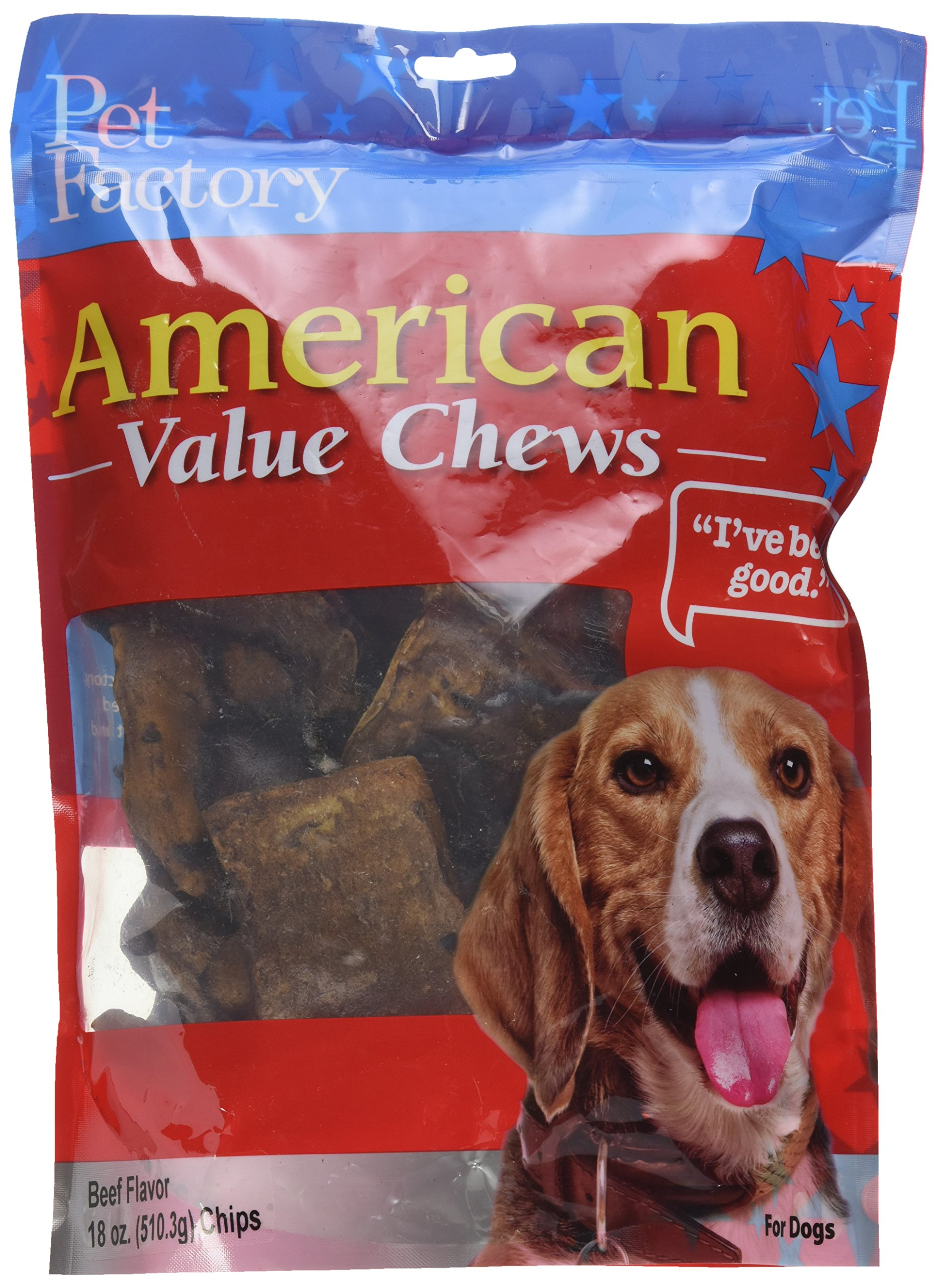 Pet Factory American Beef Hide Beef Flavored Chips Chews for Dogs, Small/18 oz by Pet Factory
