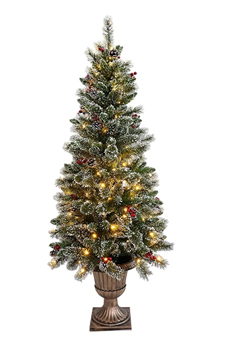 holiday stuff 5ft potted christmas tree frosted winter pine pre lit decorated with pine