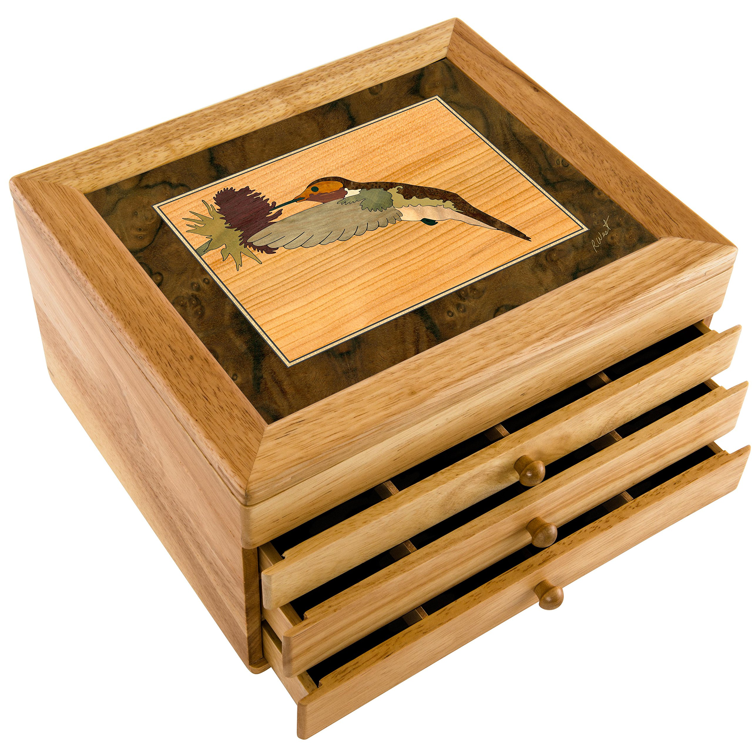 MarqART Hummingbird Wood Art Jewelry Box & Gift - Handmade USA - Unmatched Quality - Unique, No Two are The Same - Original Work of Wood Art (#7017 Hummingbird 3 Drawer)