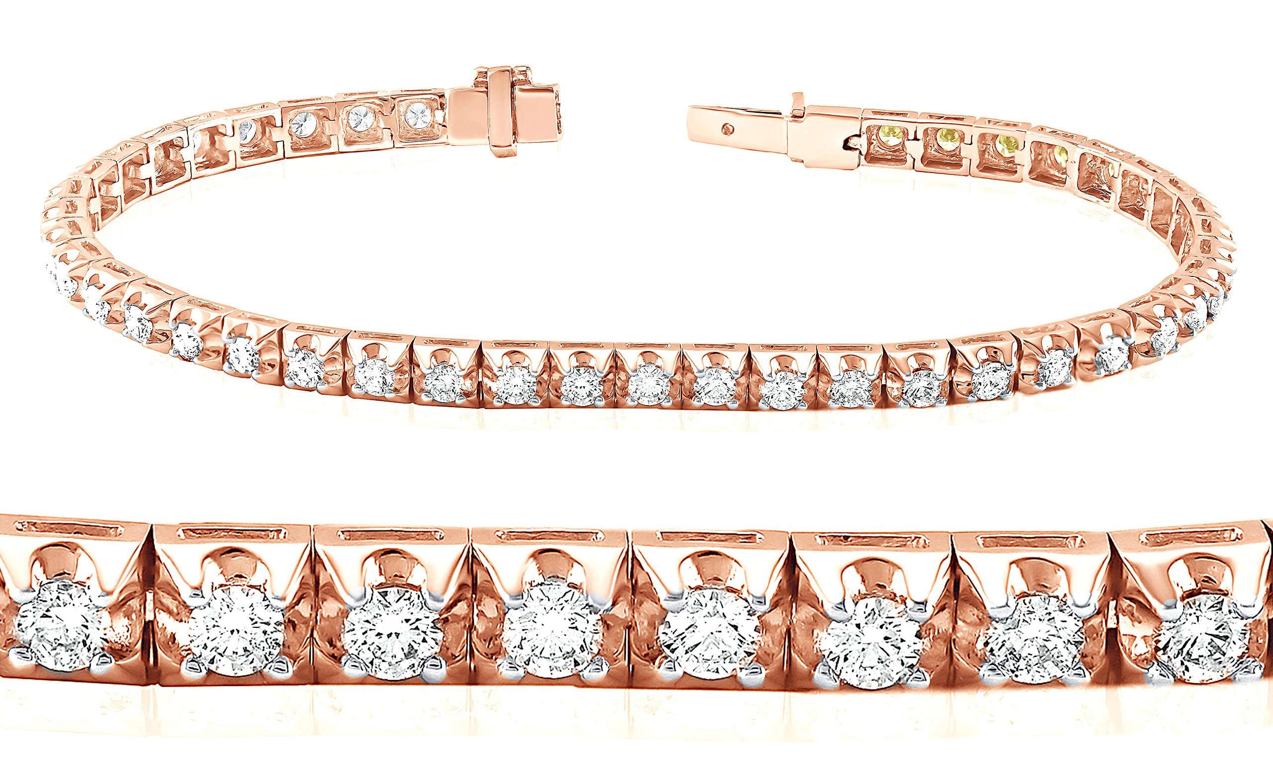 Glossy Finish 18K Rose Gold 2.60 Carat (ctw) Natural White Diamond Tennis Fine Bracelet for Girl