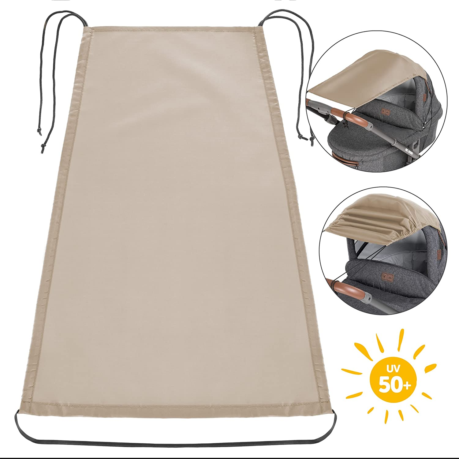 Zamboo Universal Baby Sunshade for Pram, Pushchair, Buggy and Carrycot | Stroller Sun Sail with UV Protection 50+ and up and down slide function- Beige