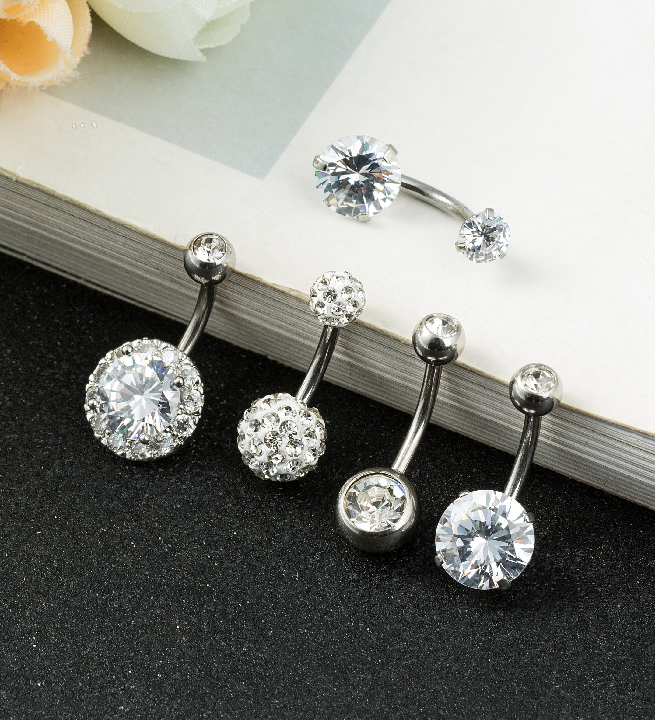REVOLIA 5Pcs 14G Stainless Steel Belly Button Rings for Women Girls Navel Rings CZ Body Piercing S by REVOLIA (Image #3)