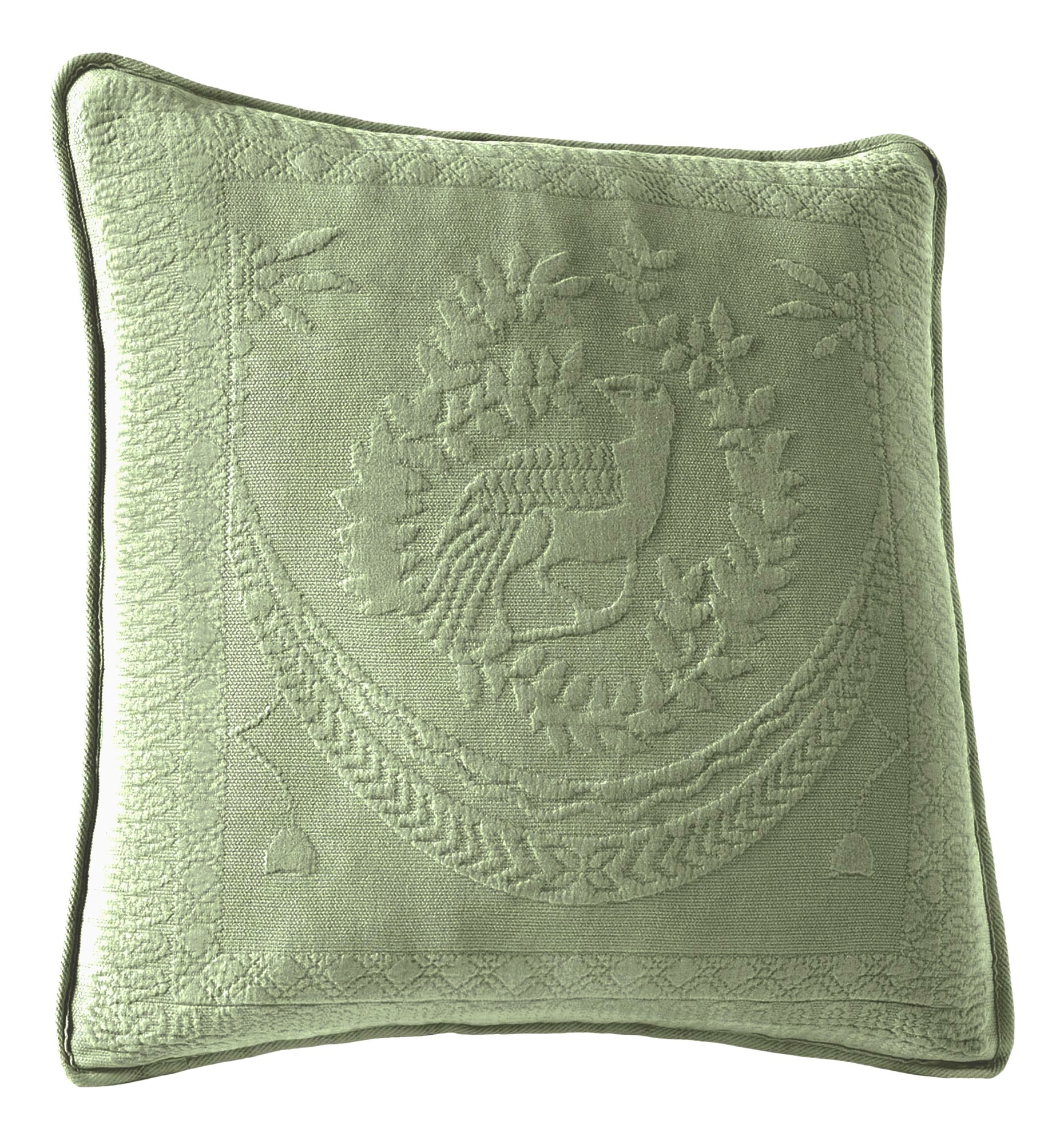 Historic Charleston 13995020X020SAG King Charles Matelasse 20-Inch by 20-Inch Decorative Pillow, Sage
