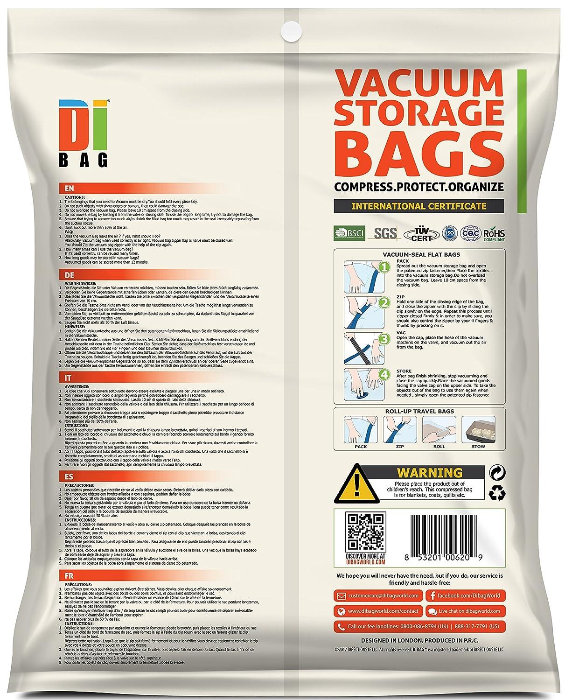 15 sacs de voyage de qualit/é sup/érieure la literie et l/'emballag DIBAG Sacs de rangement sous vide pour /économiser de lespace Sacs de compression double scell/és en plastique pour le rangement des v/êtements