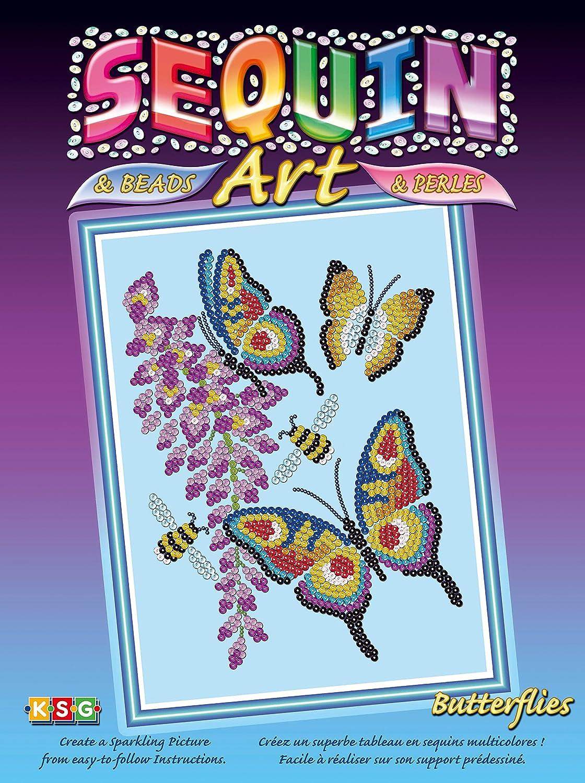 KSG Sequin Art Paillettenbild mit Perlen Schmetterling 510