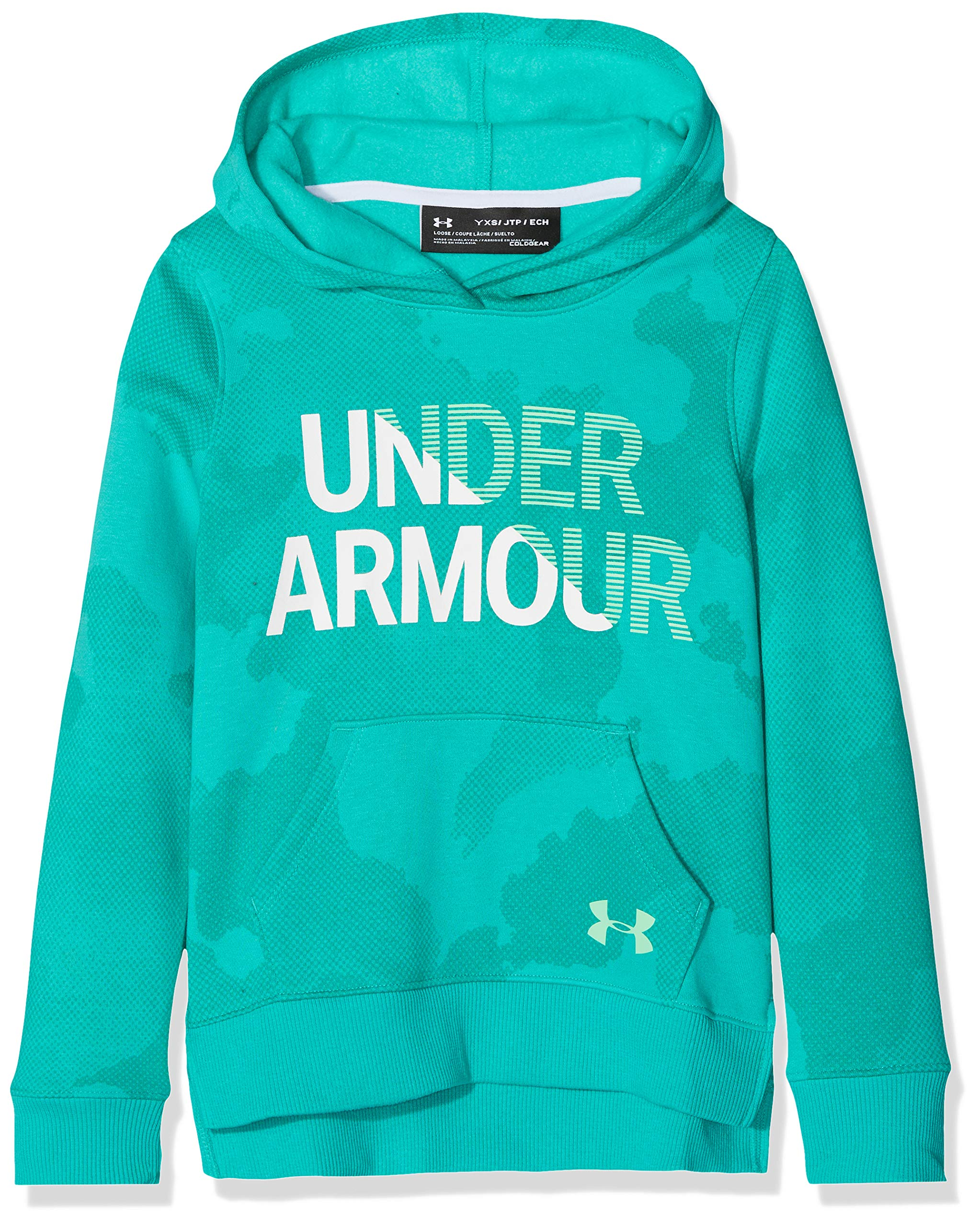 Under Armour Girls Rival Hoodie, Green Malachite (349)/Green Typhoon, X-Small