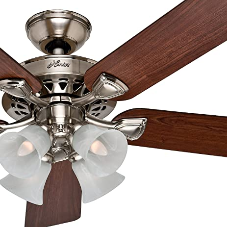 Hunter fan 52 ceiling fan in brushed nickel with 4 light fixture hunter fan 52quot ceiling fan in brushed nickel with 4 light fixture and swirled mozeypictures Choice Image