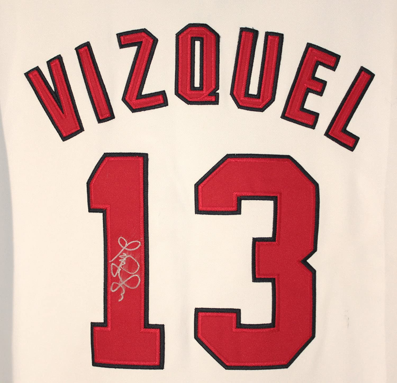... Omar Vizquel Cleveland Indians Signed Autographed White 13 Jersey at Amazons  Sports Collectibles Store . b7b1bd6a4