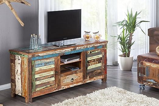 DuNord Design tarjeta de TV LOWBOARD Madras Multicolor 150 reciclado Madera Muebles de Madera Maciza, madera TV: Amazon.es: Hogar