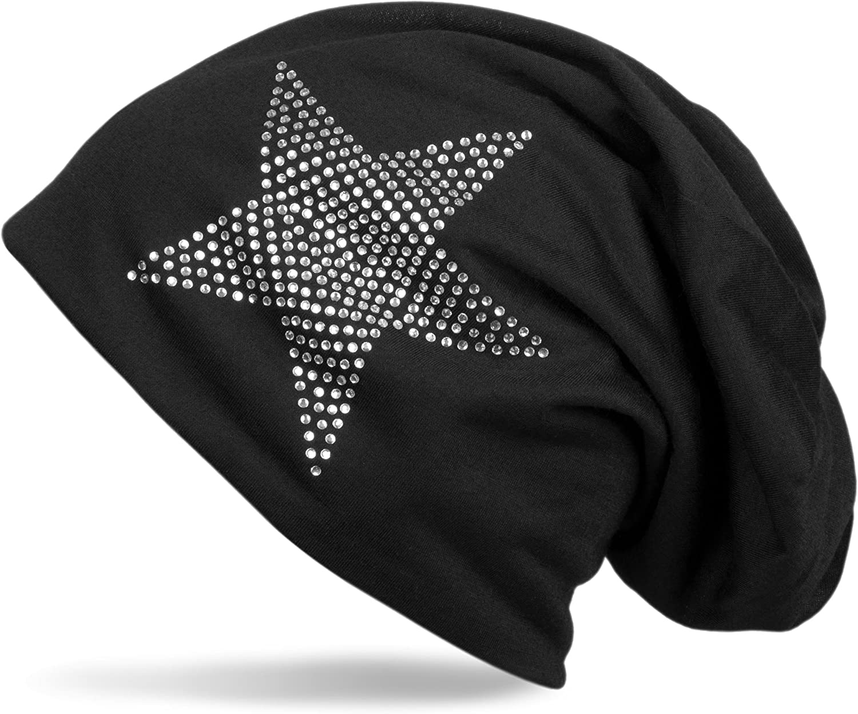 styleBREAKER Classic Beanie hat with Star Rhinestone Application Unisex 04024019 Light
