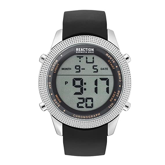 Kenneth Cole Reaction - Reloj Digital de Cuarzo para Hombre, Acero Inoxidable y Silicona,