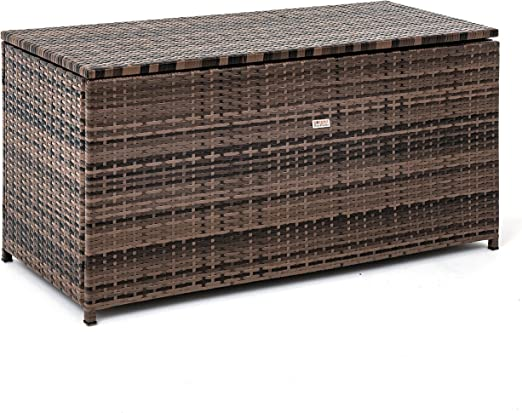 Arcón de polirratán, 120 x 60 x 50 cm, para el jardín, baúl, para cojines, marrón-mezcla: Amazon.es: Jardín