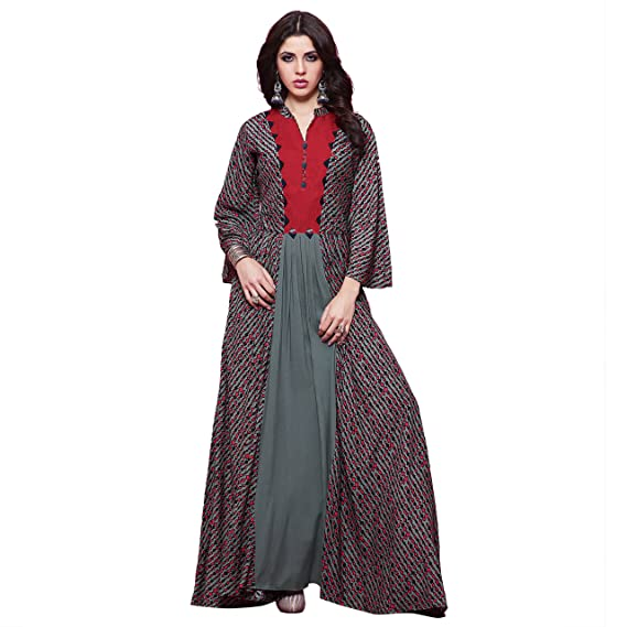 e5f5ca2b85 Sheknows Grey   Red Color Rayon printed Gown Kurta PTHKR274RNW ...