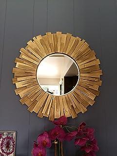 Sunburst Round Handmade Wall Mirror Gold 24