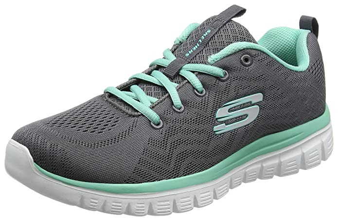 Skechers Graceful – Get Connected Sneakers Damen Grau Grün  (Charcoal Mesh/Green Trim)