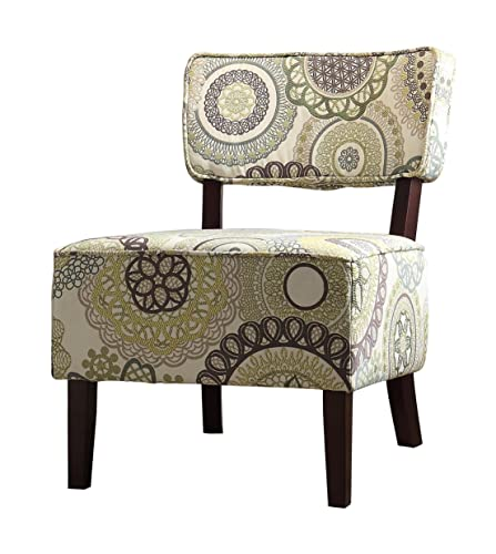 Homelegance Orson Floral Medallions Stitching Fabric Armless Accent Chair, Beige
