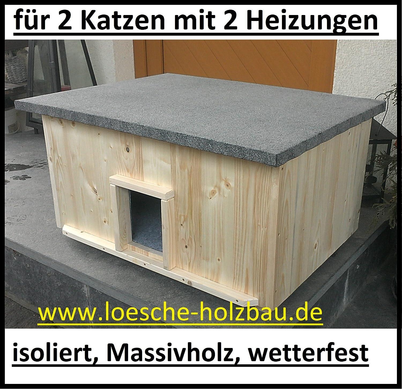 Gato Casa Grande 2 gatos con 2 calentadores gato cabaña de caja de lanzamiento aislado Calefacción Calefacción: Amazon.es: Productos para mascotas