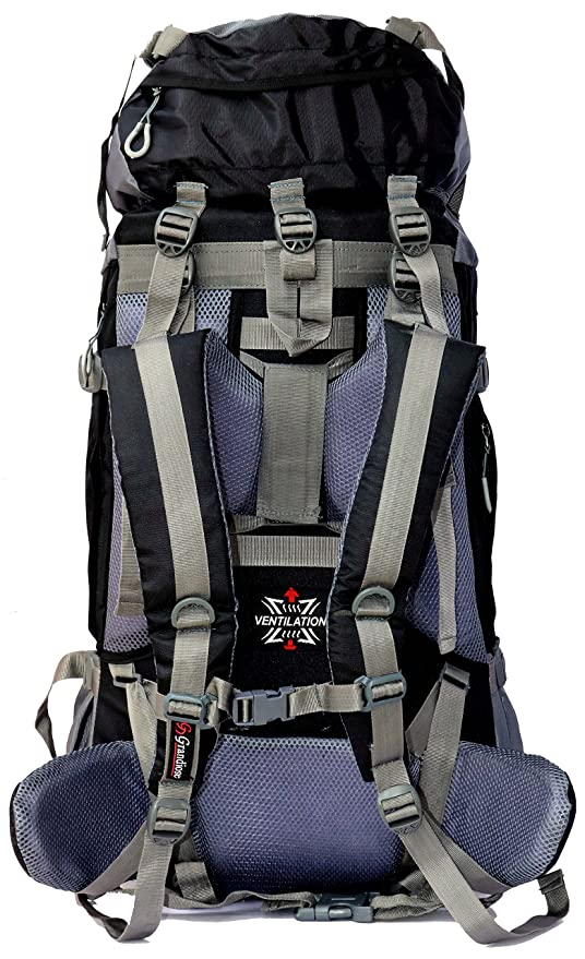 03790bb8a06b Grandiose 70L Black Hiking Backpack Rucksack (GTB67001BL)  Amazon.in  Bags