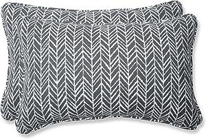 Pillow Perfect Outdoor | Indoor Herringbone Slate Rectangular Throw Pillow (Set of, 2 Piece