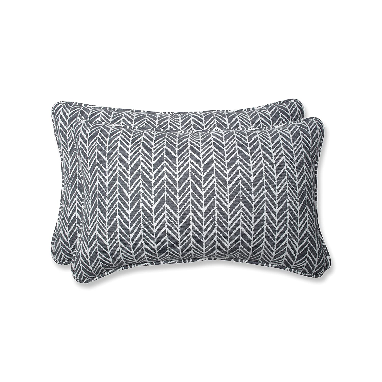 Pillow Perfect Outdoor Indoor Herringbone Slate Rectangular Throw Pillow Set of, 2 Piece