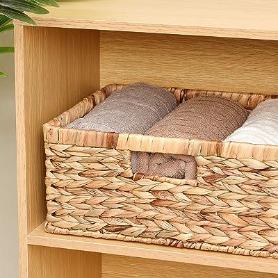 StorageWorks Hand-Woven Rectangular Wicker Baskets Set Set of 3 Water Hyacinth Storage Baskets with Built-in Handles Jumbo /& Large /& Medium