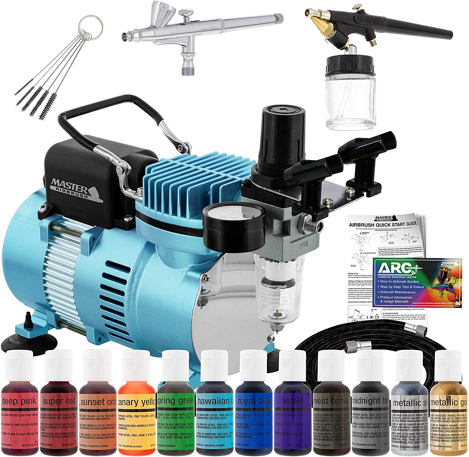Master Airbrush Cake Decorating Airbrushing System Kit with 2 Airbrushes, Gravity and Siphon, 12 Color Chefmaster Food Coloring Set, Pro Cool Runner II Dual Fan Air Compressor - How To Guide, Cupcakes: Home & Kitchen