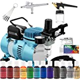 Master Airbrush Cake Decorating Airbrushing System Kit with 2 Airbrushes, Gravity and Siphon, 12 Color Chefmaster Food…