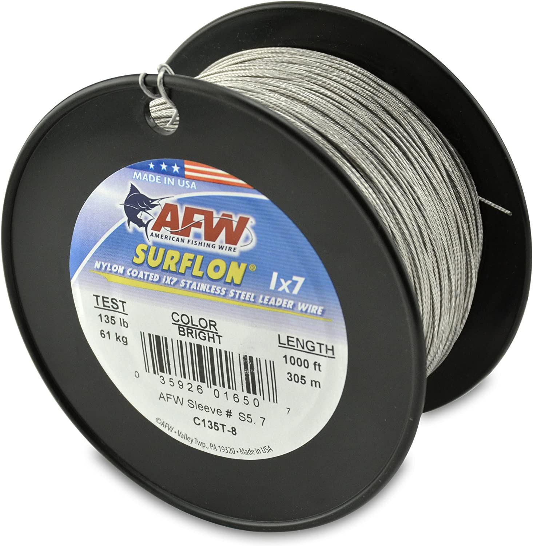 AFW American Fishing Wire Surflon Nylon Enduit Acier Inoxydable Chef De Fil Camo