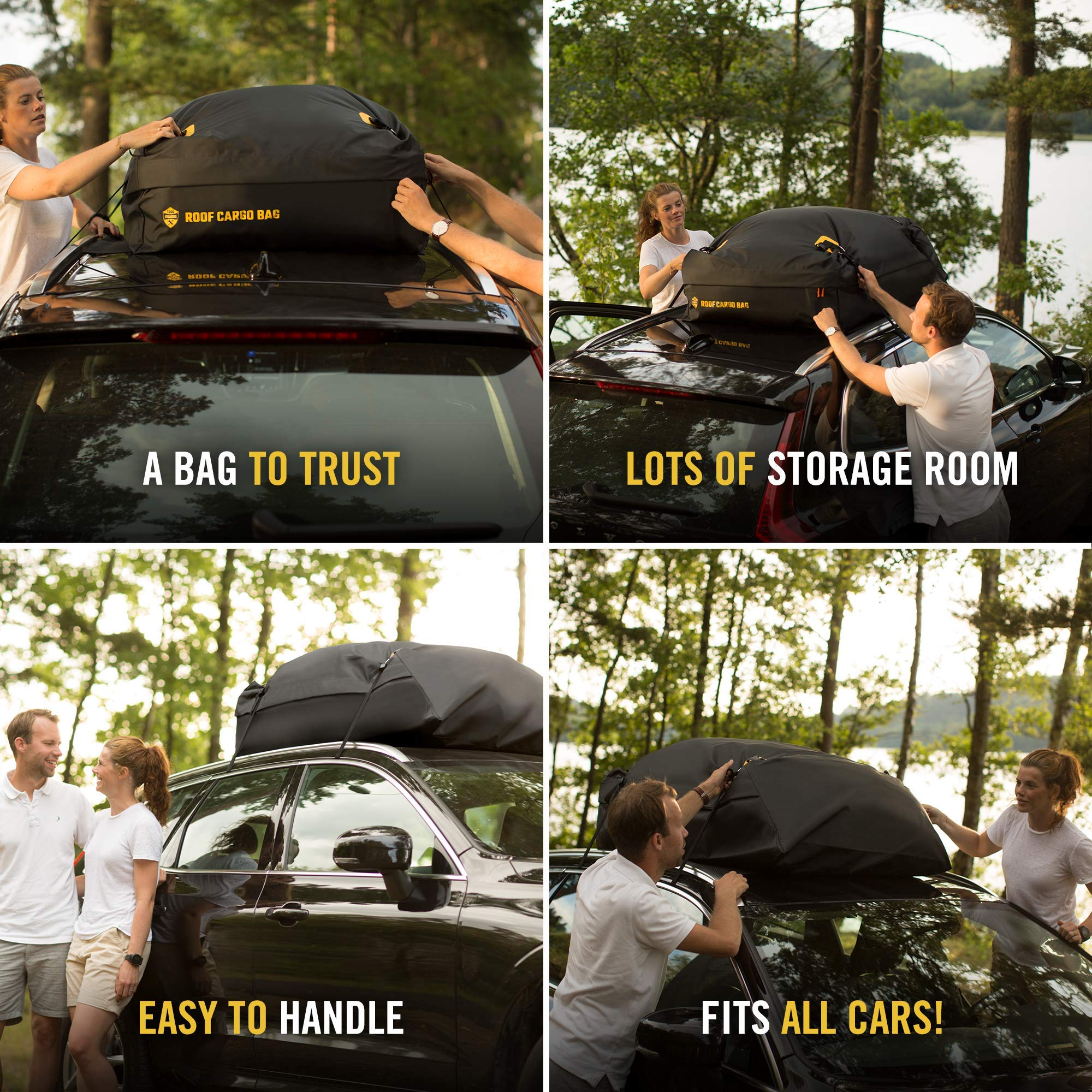 Car Top Carrier Roof Bag + Protective Mat - 100% Waterproof & Coated Zippers 15 Cubic ft - for Cars with or Without Racks by ToolGuards (Image #5)