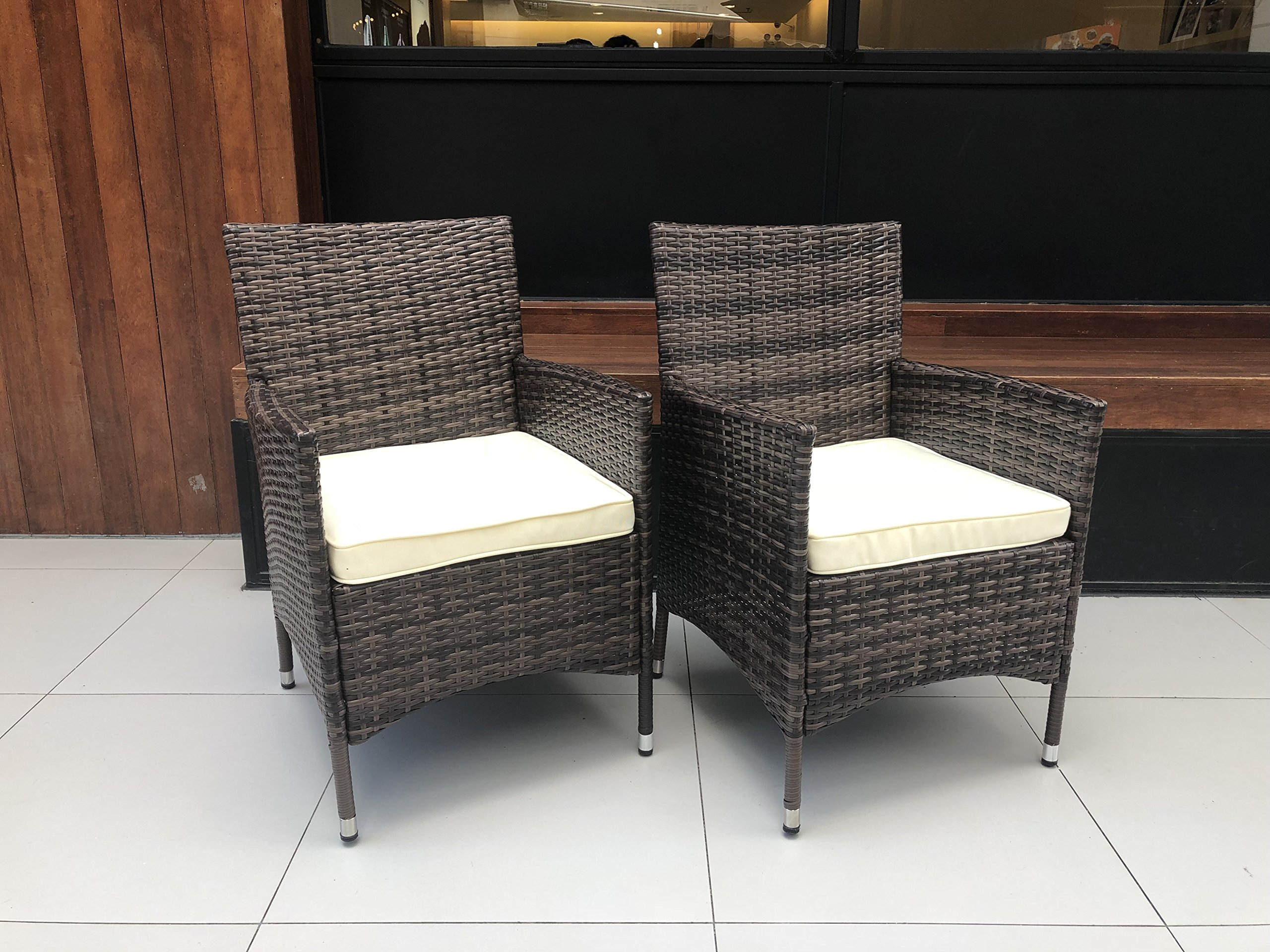HTTH 2 Pcs Patio Rattan Dining Chairs with Soft Sofa Cushion   Wicker, Outdoor, Backyard, Porch, Garden, Poolside (2 Pcs, Mixed) by HTTH (Image #2)