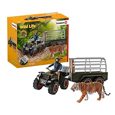 Schleich Wild Life Quad Bike with Trailer and Ranger 10-piece Educational Playset for Kids Ages 3-8: Schleich: Toys & Games