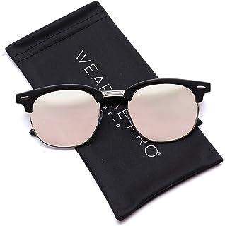 6c22364b9f WearMe Pro - Half Frame Retro Semi-Rimless Style Sunglasses Retro Mirror  Lens Sunglasses