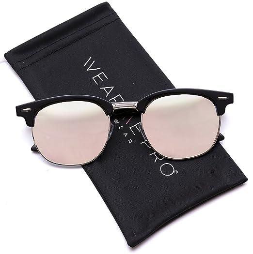 0de08023962d0 WearMe Pro - Clubmaster Style Sunglasses Retro Mirror Lens Sunglasses  (Black Frame Mirror Pink