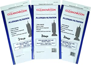 Cleanovation Vacuum Cleaner Bags Replacement for Hoover A; Bissell 2; Kenmore 5037 & 50378; Singer SUB-2 HEMS-1; 9-Pack - Micro Allergen Bag, Lined Allergen Bags, Micro Lined Bags