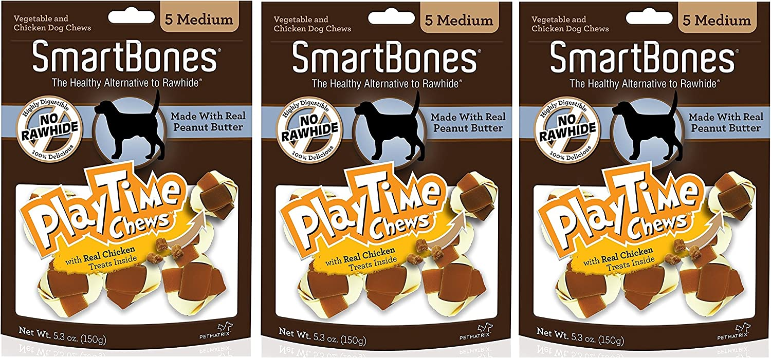 3 Pack SmartBones PlayTime Medium Peanut Butter Treat Chews for Dogs 5 Count Per Pack 15 Chews Total