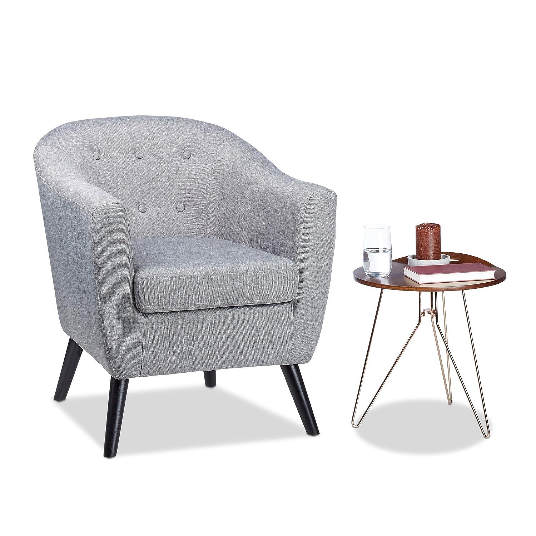 Relaxdays Cocktailsessel 50er, weich, bequem, abnehmbares Sitzkissen, runder Clubsessel, HxBxT  77 x 67,5 x 65 cm, grau