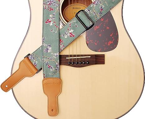 MUSIC FIRST - Correa para guitarra de piel auténtica y algodón ...