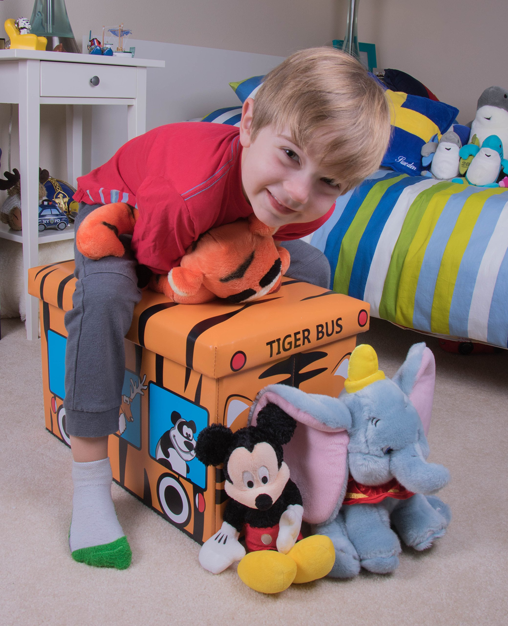 Safari Bus Collapsible Storage Organizer by Clever Creations | Storage Box Folding Storage Ottoman for Your Bedroom | Perfect Size Storage Chest for Books, Shoes & Games by Clever Creations (Image #6)