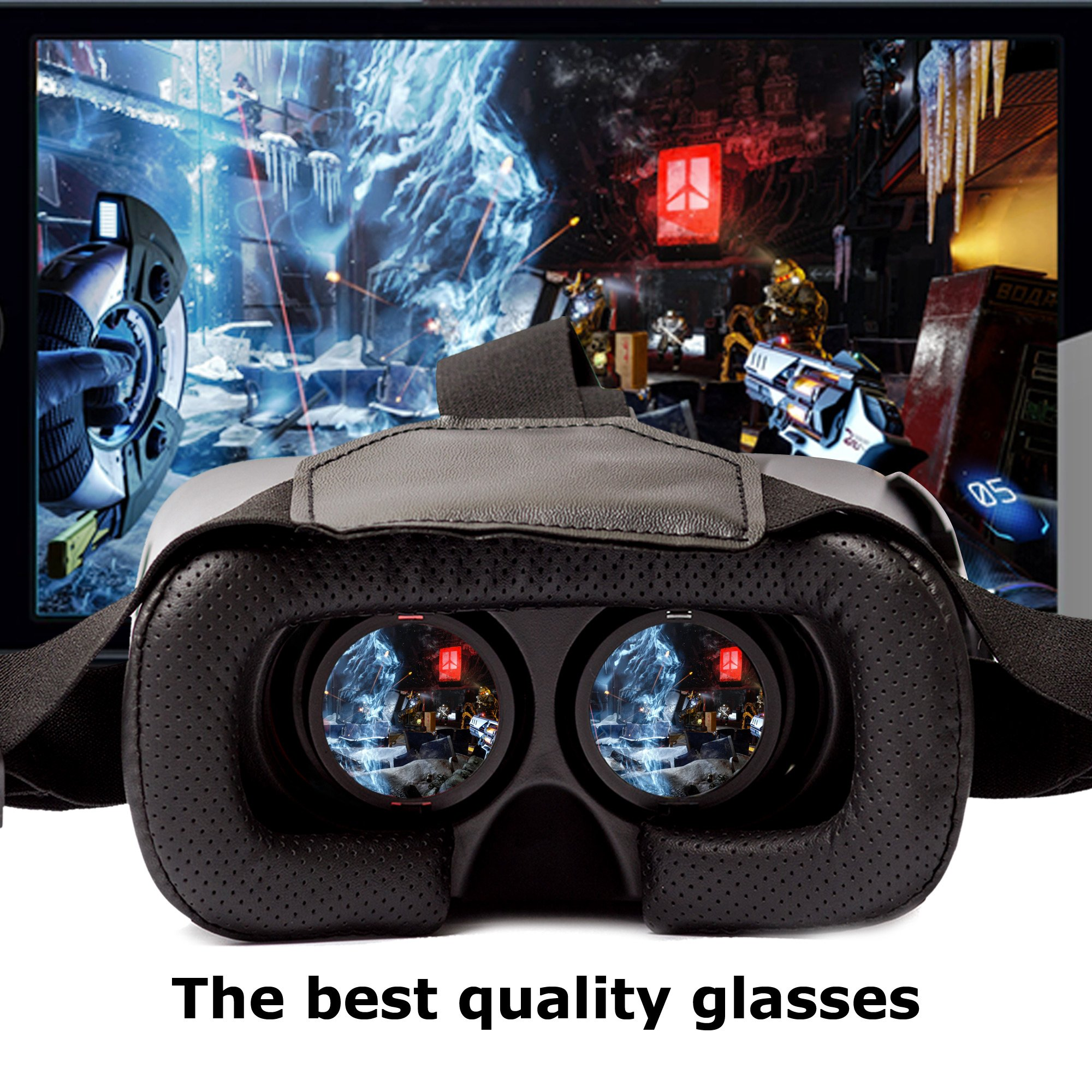 3D Virtual Reality Game Glasses Gaming Headset by Calerix Cardboard Kit Mobile Cinema Helmet with Bluetooth Remote Control and Blue-Ray Compatible with Smartphone iPhone Samsung Android by Calerix (Image #8)