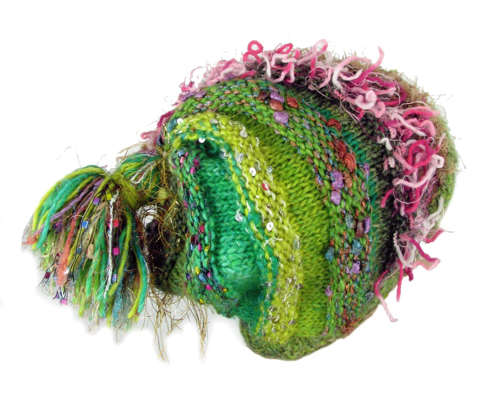 Fine Points Women's Sue's Spiral Handmade artisanal Yarn Knit Hat (Dark Multi)