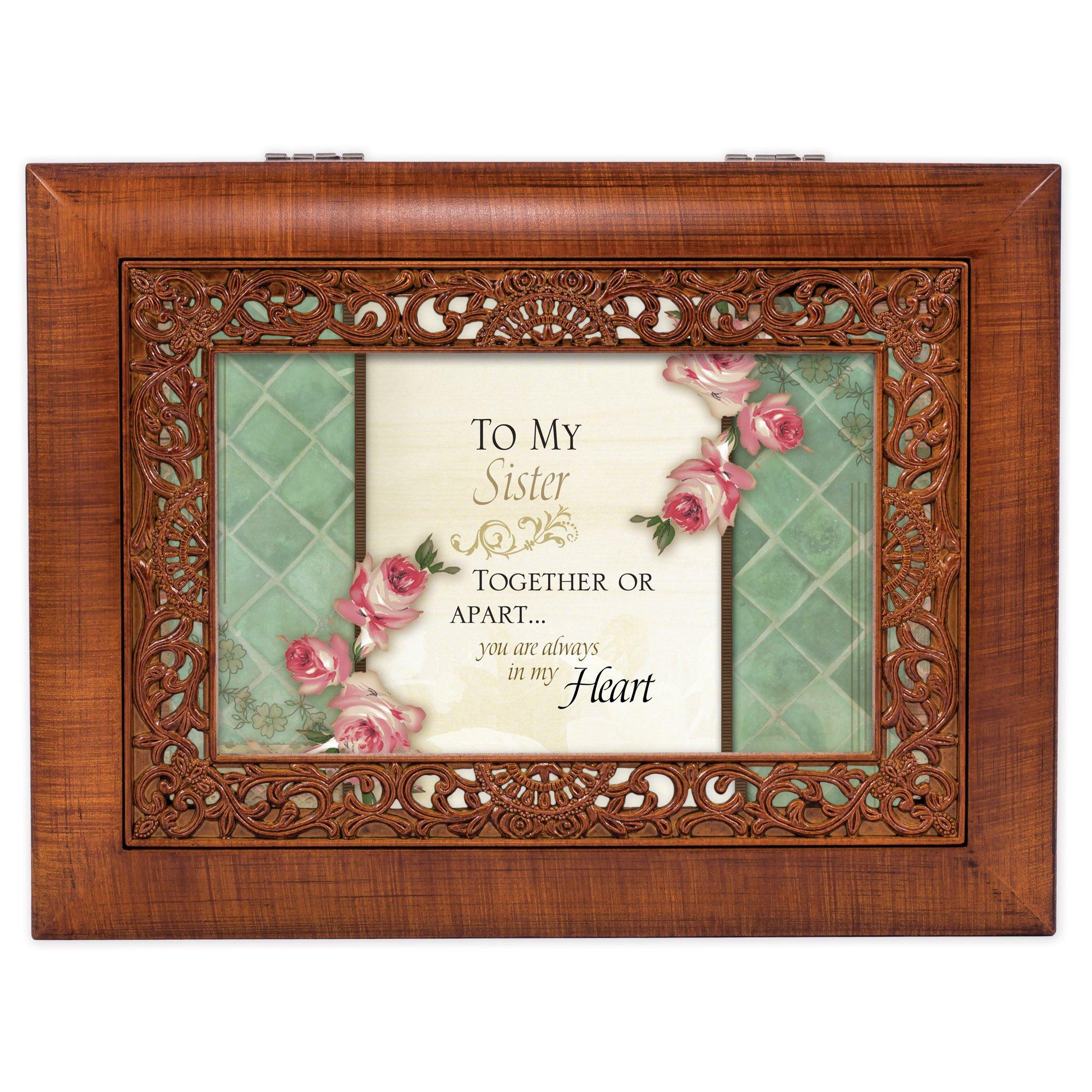 Cottage Garden Sister Woodgrain Ornate Music Box Plays Wonderful World by Cottage Garden (Image #2)